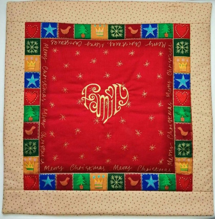 'Patchwork' Style ♥️ Soft Touch ♥️ FAMILY 💗 CHRISTMAS Cushion Cover ♥️ Exclusive EMBROIDERED Design ♥️ Quilted & Padded 1
