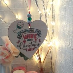 """Hand-Etched Boozy Christmas Decorations: """"Running on Wine And Christmas Cheer"""""""