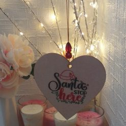 """Hand-Etched Christmas Decorations: """"Santa Stop Here"""""""