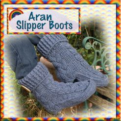 Aran Slipper Boots - crochet pattern