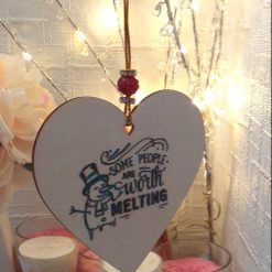 """Hand-Etched Humorous Christmas Decorations: """"Some People Are Worth Melting"""""""