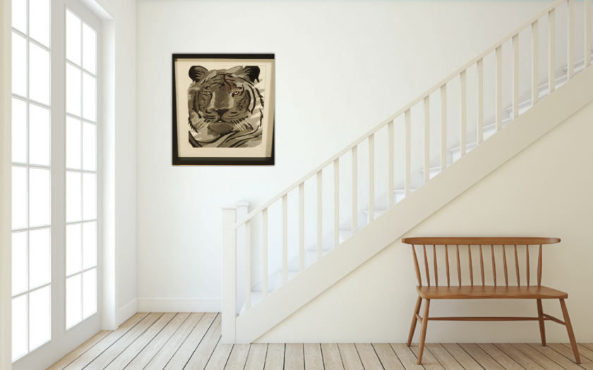 tiger thread painting.  Artwork.  Home decore 3