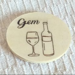 Hand-Etched Wooden Coaster: Wine