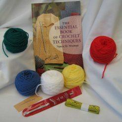 Learn Crochet Techniques Kit, book, yarn,