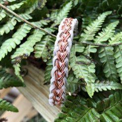 Men's suede Kumihimo bracelet beige and copper