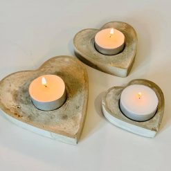 Heart Tea Light Candle Holders, Concrete