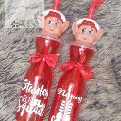 Personalised elf drinking bottle.