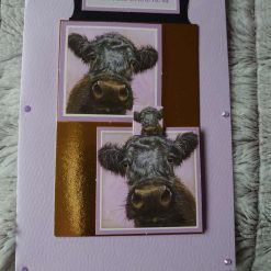Black cow, from the whole herd, handmade card