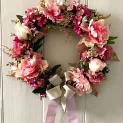 'Polly' faux flower wreath