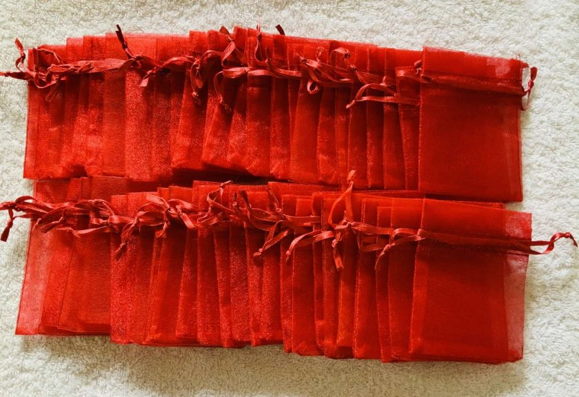 50 Christmas Red Small Organza Gift Bags 2