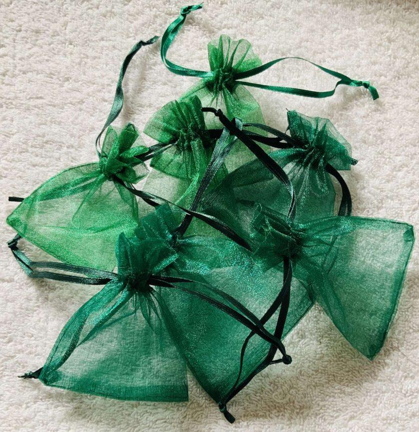 50 Christmas Green Small Organza Gift Bags 1