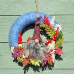 Gnome and Mushroom Needle Felted Wreath