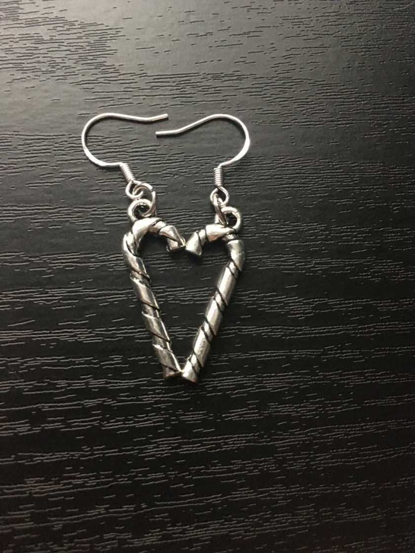 Christmas silver candy cane earrings 2