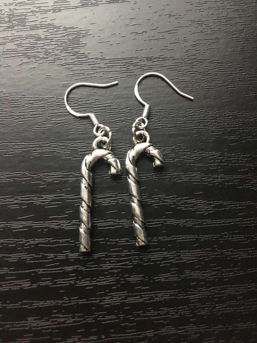 Christmas silver candy cane earrings 1