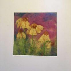 needle felt art - yellow daisies / free p.p