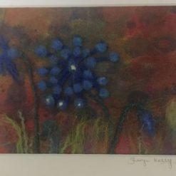 Blue meadow flower needle felt art (1) / free p.p