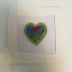 needle felt art on a card / green / free p.p