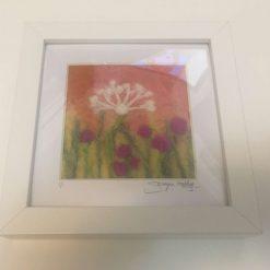 Meadow flowers Framed needle felt wall art / free p.p
