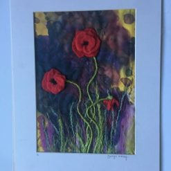 Needle felt and silk wall art / free p.p