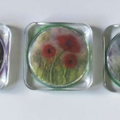 glass coasters with poppy needle felt art - set of 3 SOLD
