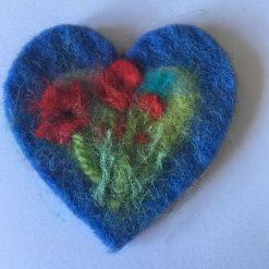 needle felt art on a card / blue heart  / SOLD