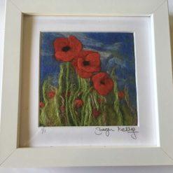 Poppy's in Meadow  Framed needle felt wall art / SOLD