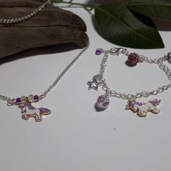 Unicorn Necklace and  charm bracelet set