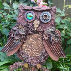 Owl mixed media art