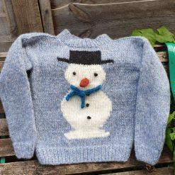 Children's snowman sweater, boys snowman jumper, children's wool sweater, boy's Christmas sweater