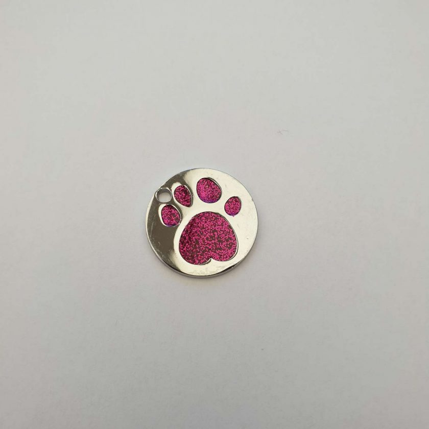 personalized engraved Dog ID tag dog tags glitter paw print reflective free 1st class postage 3