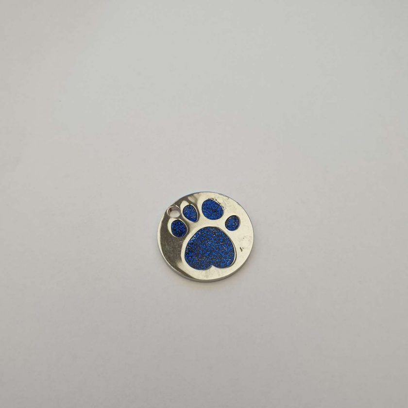 personalized engraved Dog ID tag dog tags glitter paw print reflective free 1st class postage 4