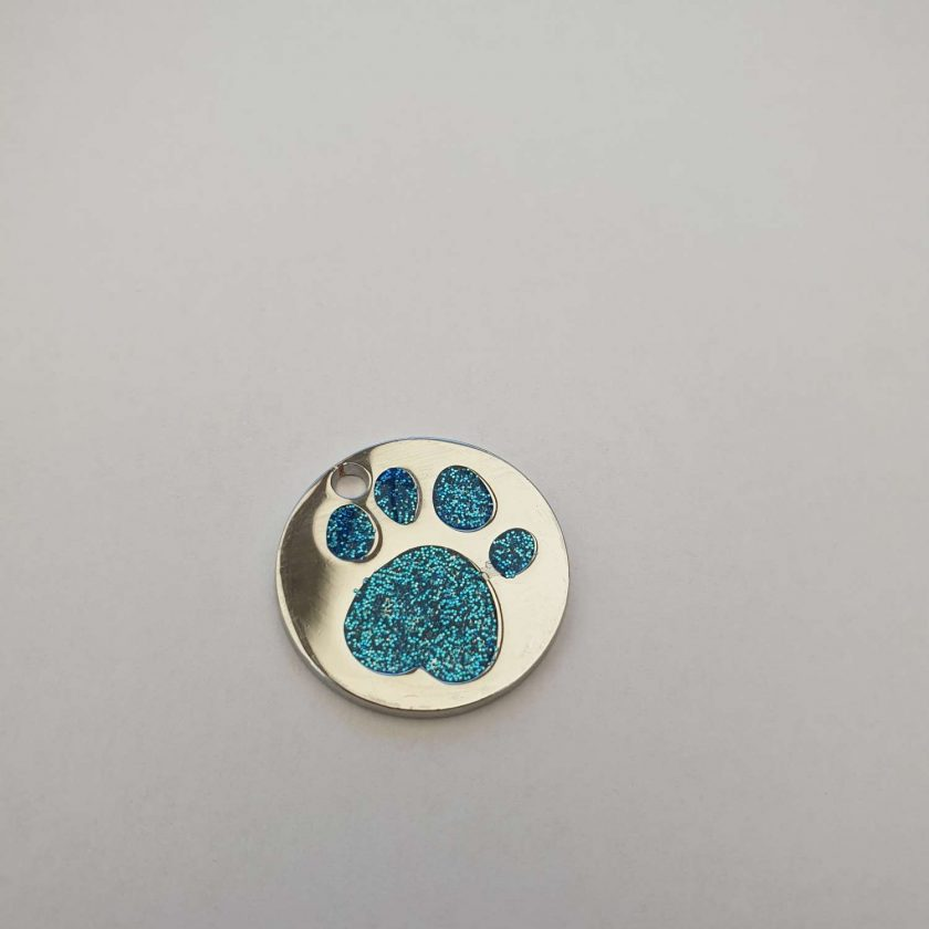 personalized engraved Dog ID tag dog tags glitter paw print reflective free 1st class postage 5