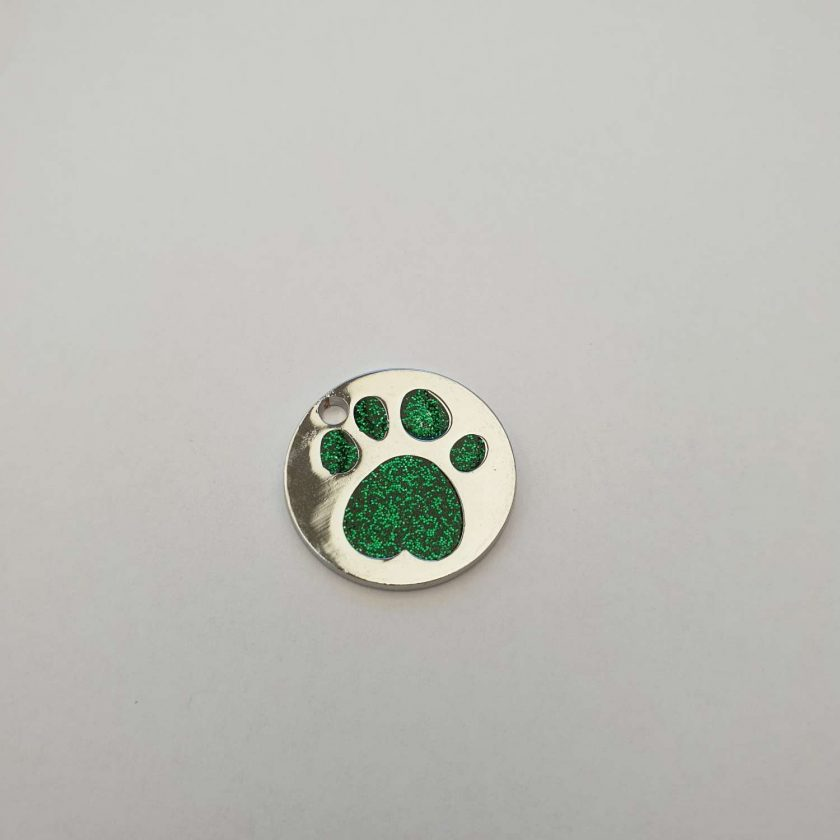 personalized engraved Dog ID tag dog tags glitter paw print reflective free 1st class postage 7