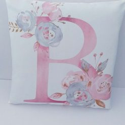 Decorative cushions,Elegant floral letter cushion cover ,pink and white cushion cases for stylish personalised room.