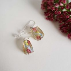 Flower Earrings, Lampwork Glass, Sterling Silver, Drop Earrings 11