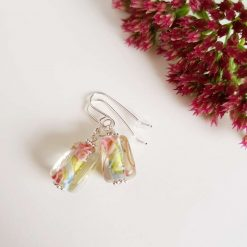Flower Earrings, Lampwork Glass, Sterling Silver, Drop Earrings 8