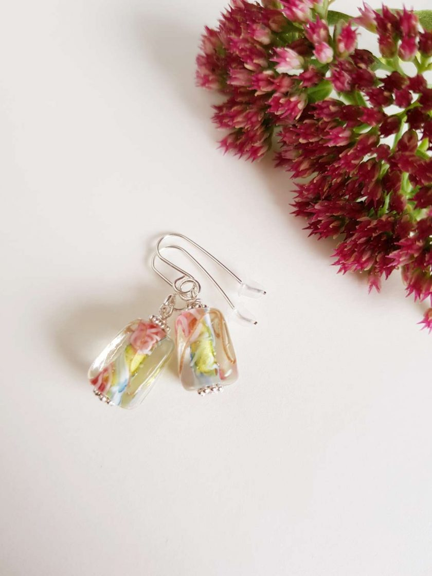Flower Earrings, Lampwork Glass, Sterling Silver, Drop Earrings 2