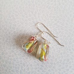 Flower Earrings, Lampwork Glass, Sterling Silver, Drop Earrings 10