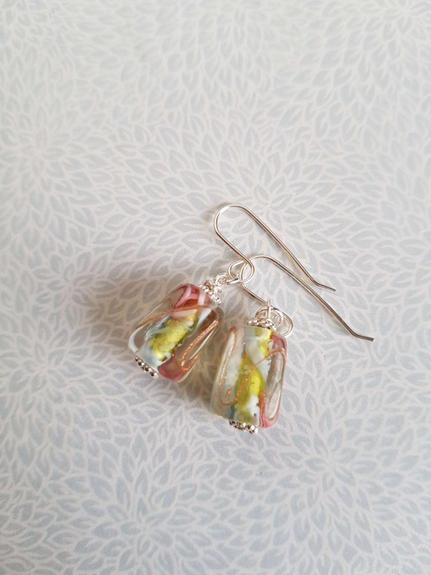 Flower Earrings, Lampwork Glass, Sterling Silver, Drop Earrings 4