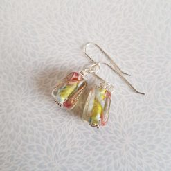 Flower Earrings, Lampwork Glass, Sterling Silver, Drop Earrings 9
