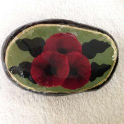 1st hand painted poppy stone