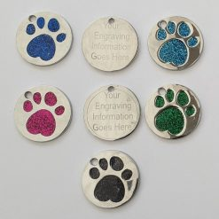 personalized engraved Dog ID tag dog tags glitter paw print reflective free 1st class postage 8
