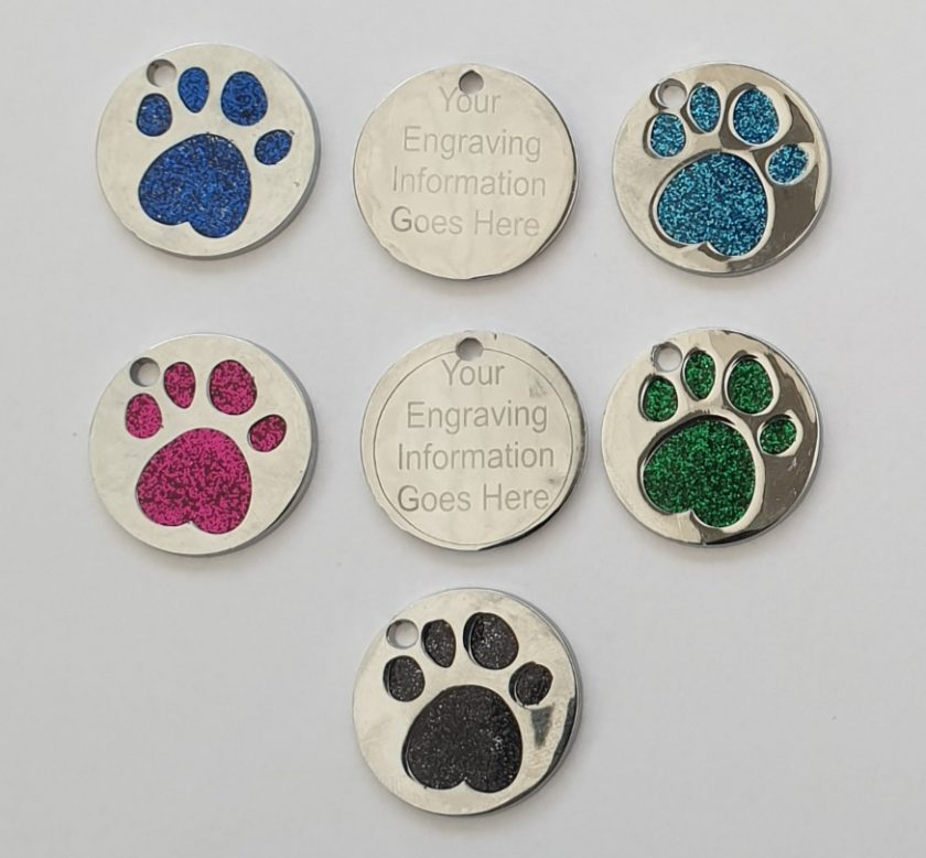 personalized engraved Dog ID tag dog tags glitter paw print reflective free 1st class postage 1