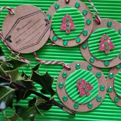 6 x Handmade Round Christmas Tree Tags