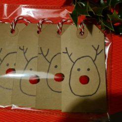5 x Handmade Christmas Red Nose Reindeer Gift Tags
