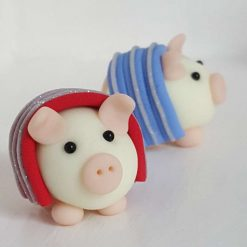 Mini pig in blanket - piglets in blankets - glow in the dark pigs - gift - cake topper - Christmas decoration