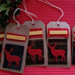 6 x Handmade Christmas Stag Gift Tags (1)