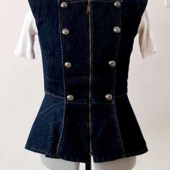 Button Denim Jacket/Sleevles Denim Jacket/Soft Denim Button Jacket/Womenswear Jean Jacket/Zip denim Jacket