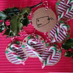 6 x Handmade Christmas Candy Cane Gift Tags