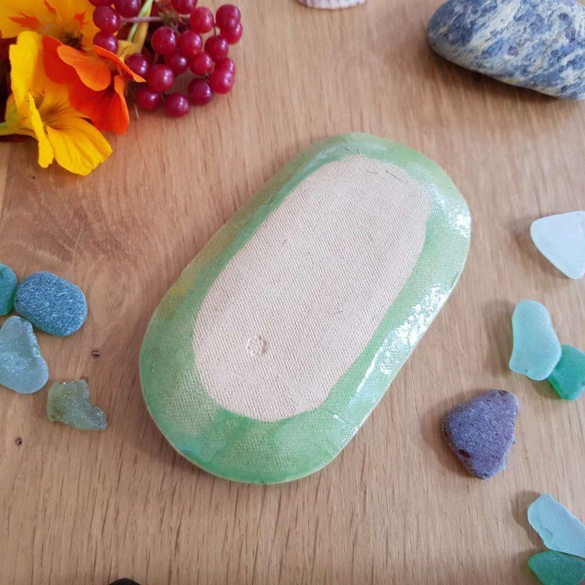 Kiwi green handmade soap and shampoo bar dish 2
